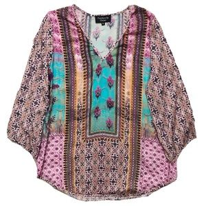 Anthropologie Feathers by Tolani Boho Printed Top